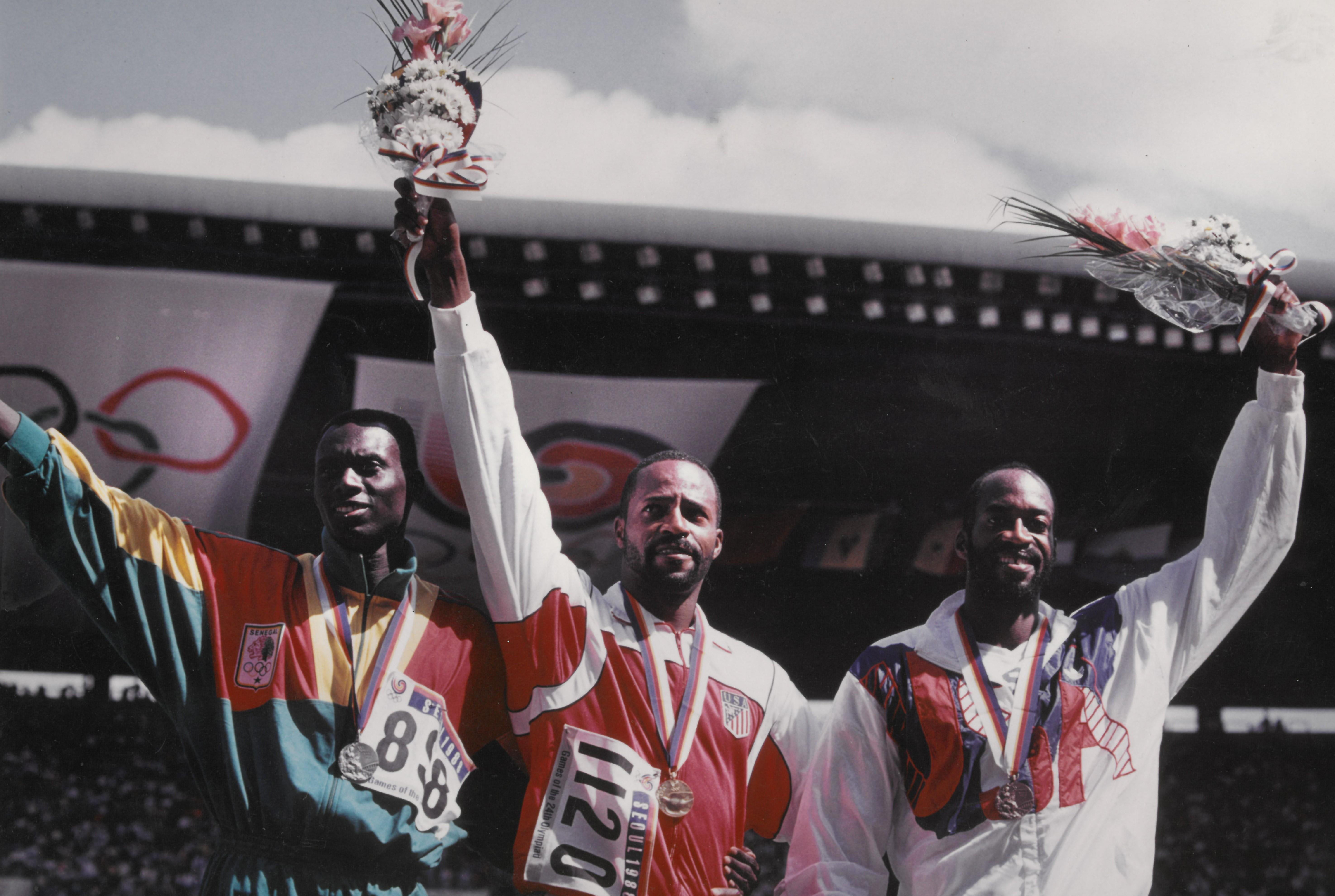 1988 Olympics Men's Finals 400m Hurdles - Medal Ceremony with Dia Ba, Phillips, Moses
