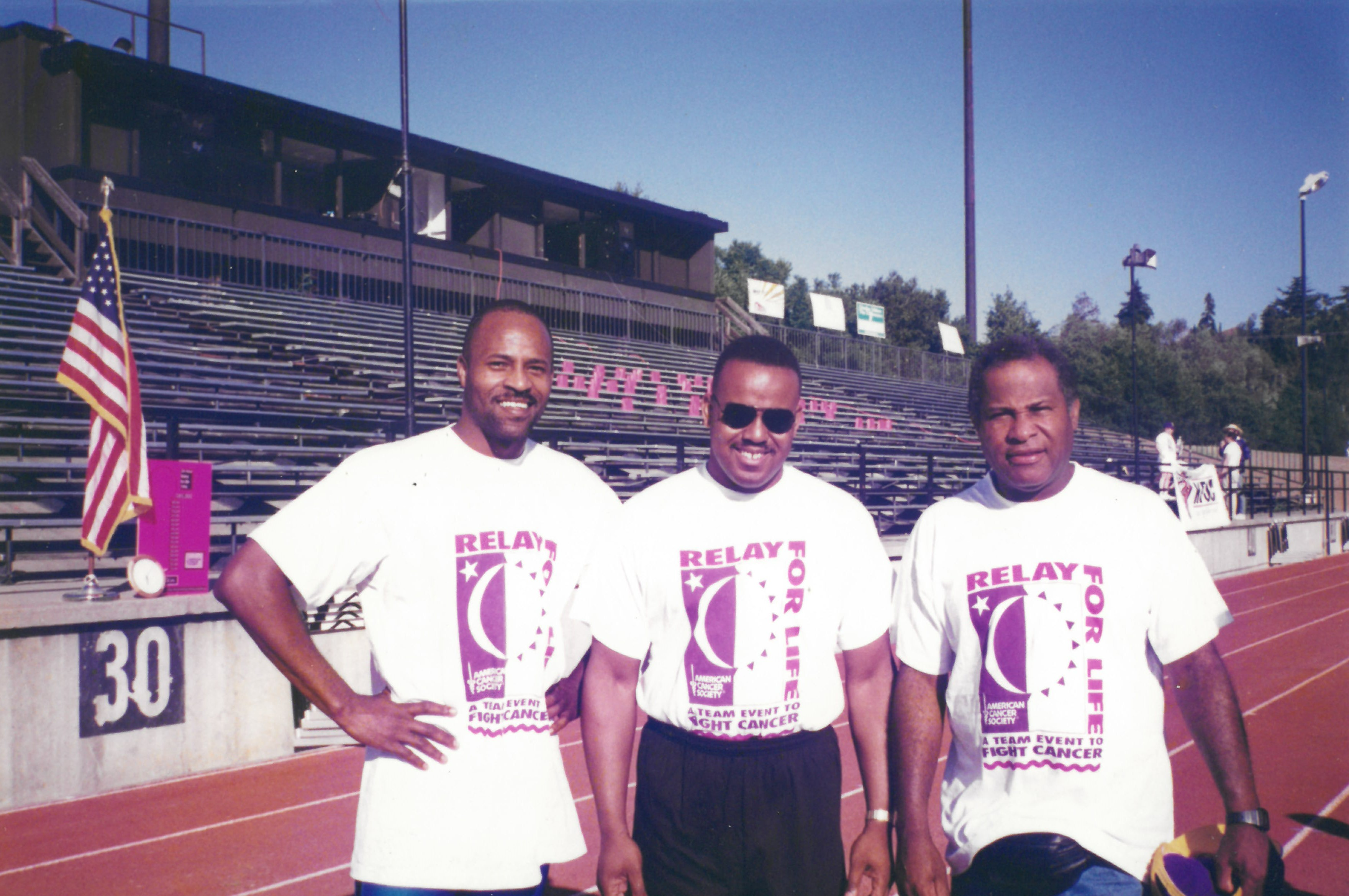André Phillips, Millard Hampton, Bob Poynter at a Relay for Life event