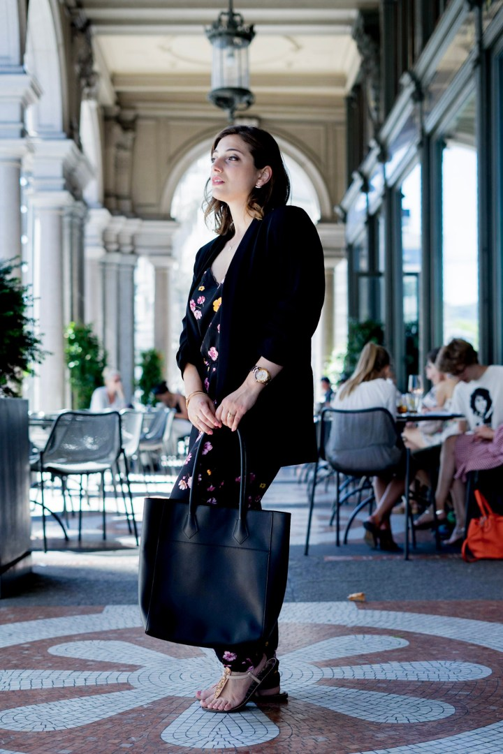Zara blazer outfit with black shopper and jumpsuit