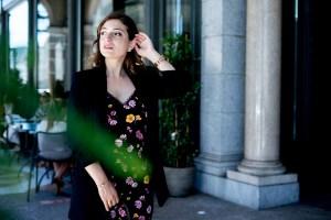 Zara blazer paired with jumpsuit