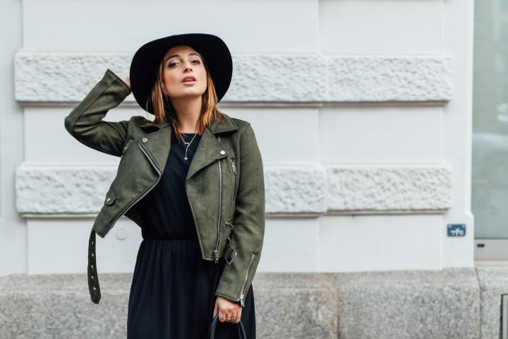 Black dress and faux suede leather jacket