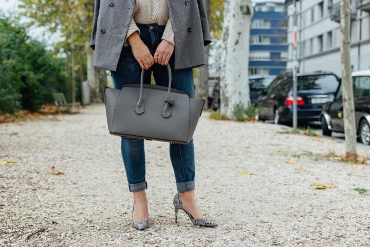 high heels and bally bag outfit in Zurich Switzerland