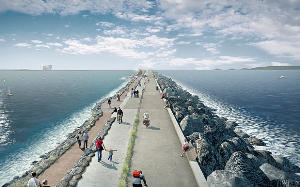 An impression of the pilot lagoon scheme in Swansea Bay (photo: Tidal Lagoon Power)