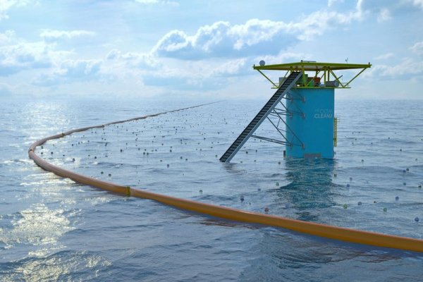 With the Ocean Cleanup system, Boyan Slat hopes  to put the sea currents at work to collect garbage (graphic: the Ocean Cleanup)