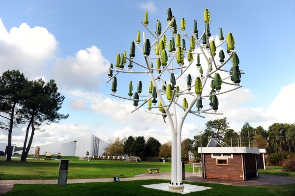 The Wind Tree harvests wind energy from slower and turbulent wind flows than traditional systems, making it a perfect solution for an urban environment (photo: Fred Tanneau)