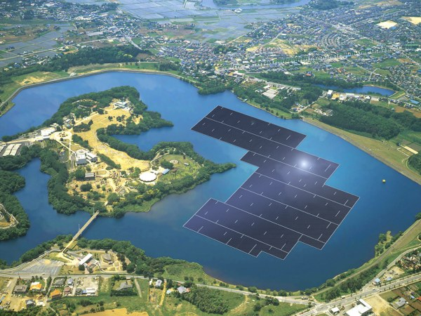 Kyocera's floating solar farm will deliver electricity for around 5000 households (photo: Kyocera Corp.)