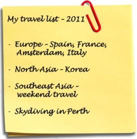 travel list, travel 2011, where to go 2011