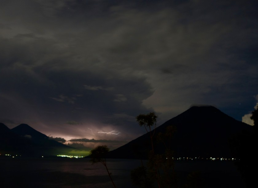 lighterning storms, lake atitlan night sky