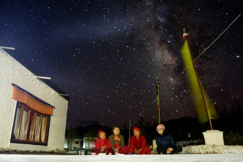ladakh night sky, stargazing india, nunnery ladakh