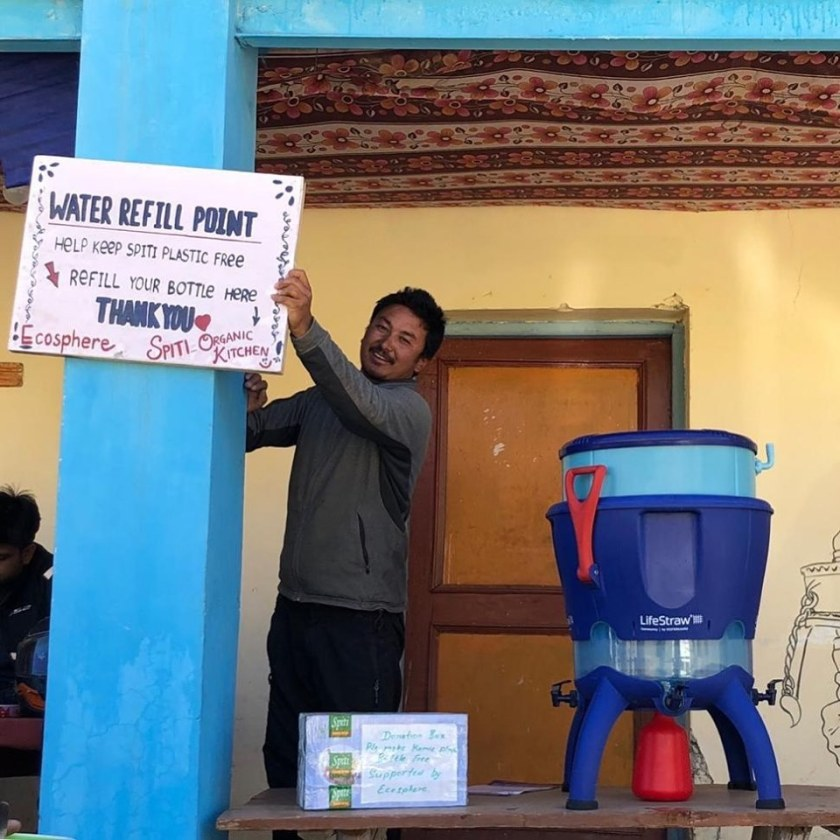 i love spiti, spiti plastic bottled water, spiti refill water, spiti drinking water, water refill point spiti