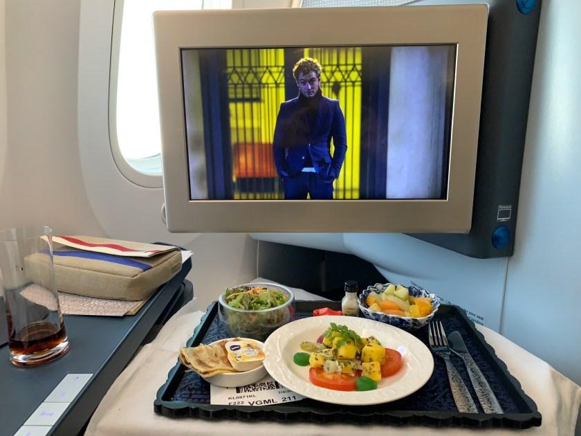 KLM food, KLM business class, boeing 787-9 dreamliner