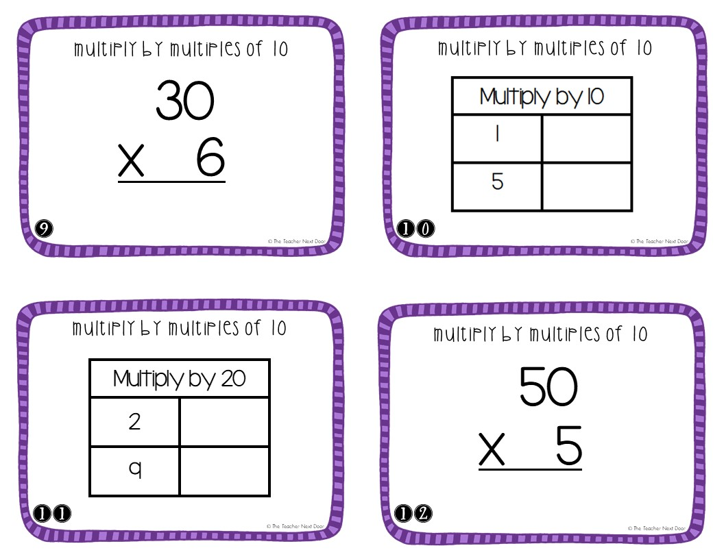 3rd Grade Multiply By Multiples Of 10 Task Cards The