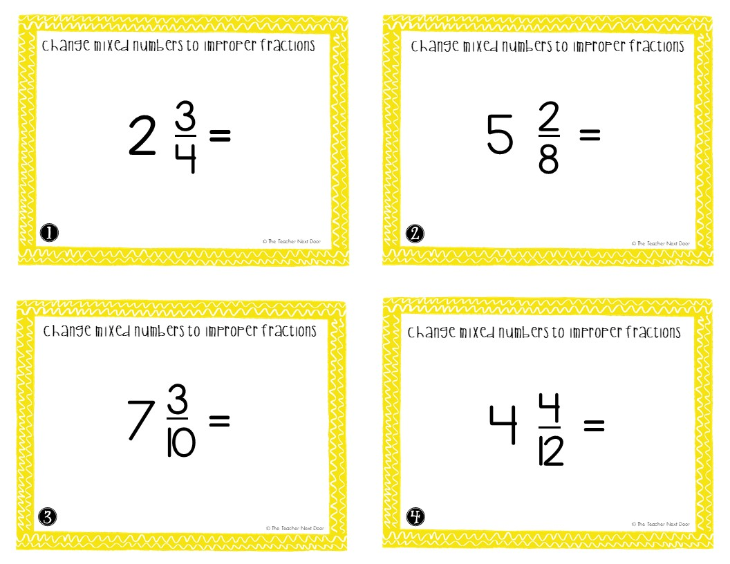 5th Grade Change Mixed Numbers To Improper Fractions Task
