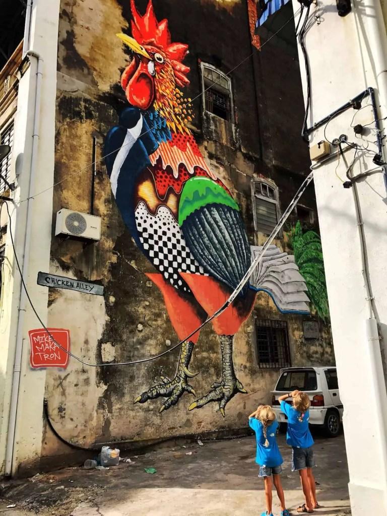 pitt street penang,  agoda penang georgetown,  wall painting penang,  town street arts,  kl sentral to penang train