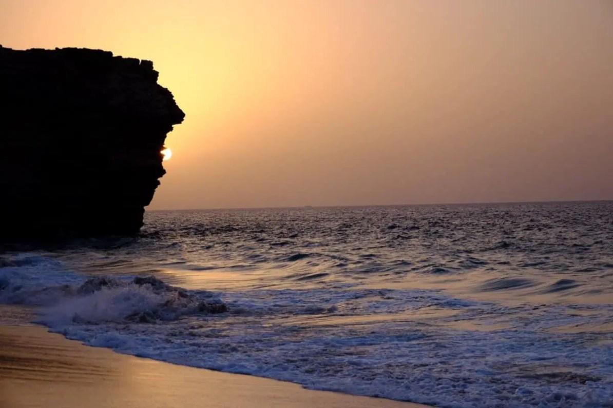 Wschód słońca na żółwiowej plaży, żółwie w Omanie