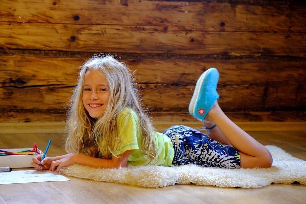 Small girl in PJ and comfy slippers