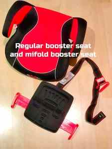 mifold foldable car seat and regular car booster seat