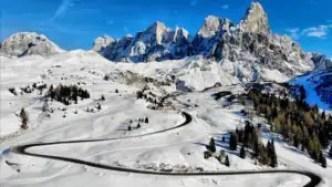 Passo rolle - way to San Martino di Castrozza a ski resort town in Trentino