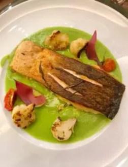 salmon in pea mash - best restaurant in San Martino di Castrozza, Trentino
