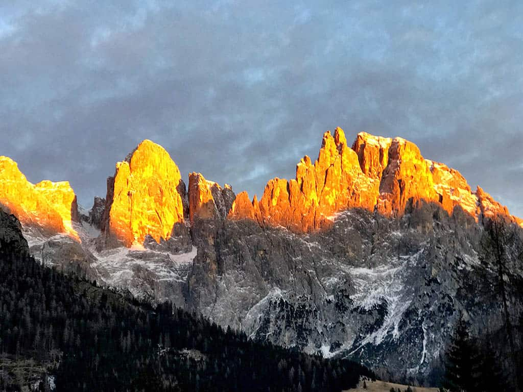 Paledi San Martino during sunset, winter in San Martino, family winter holiday in San Martino