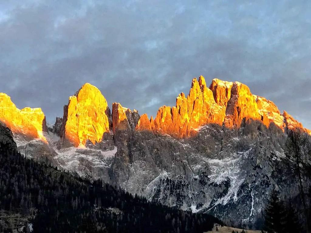 Paledi San Martino during sunset, winter in San Martino, family winter holiday in San Martino
