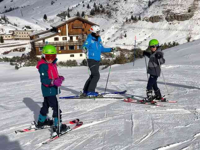 Children ski lesson in Passo Rolle, San Martino di Castrazzo