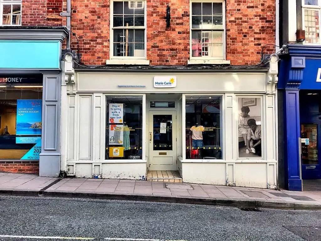 Marie Curie Shrewsbury, charity shops Shrewsbury, shrewsbury sellers