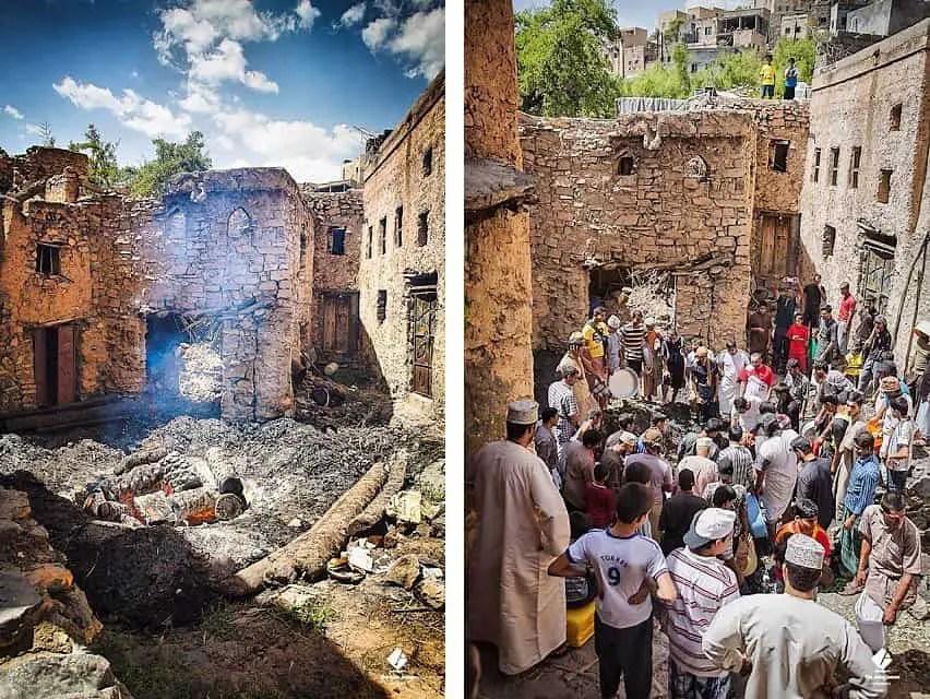 shuwa fire pit in mud village - misfat al