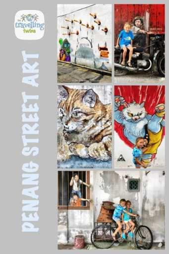 the travelling twins, Penang graffiti, Penang Street art | where to find street art in Penang |