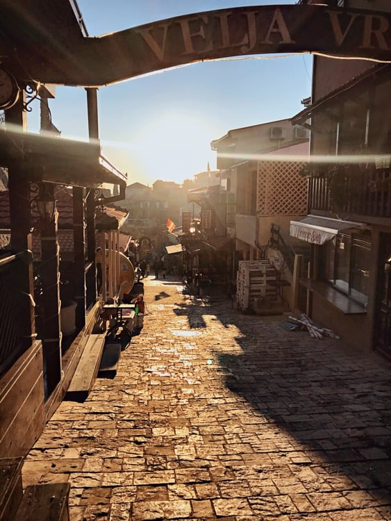 Pedestrian passage leading to Stari Bar - best place to sit in a restaurant and have a coffee or traditional Montenegrin meal  old city