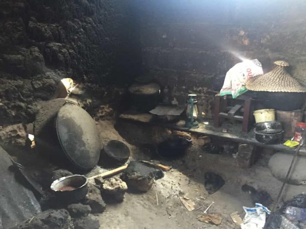 kitchen in poor local house in Zanzibar
