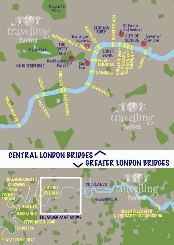 Map of London bridges over the Thames