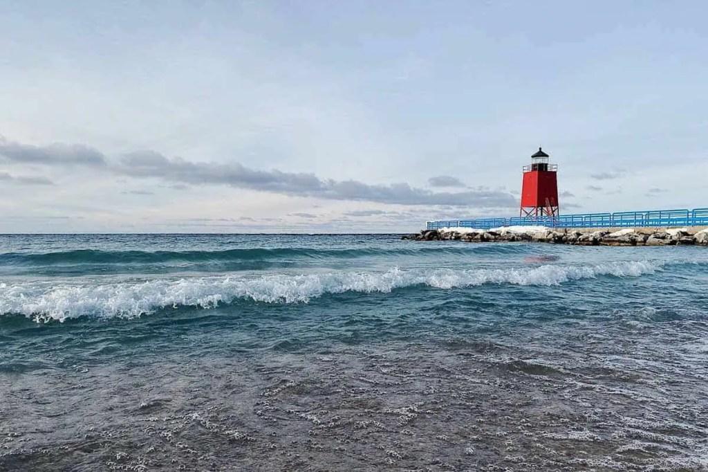 red lantern on lake Michigan