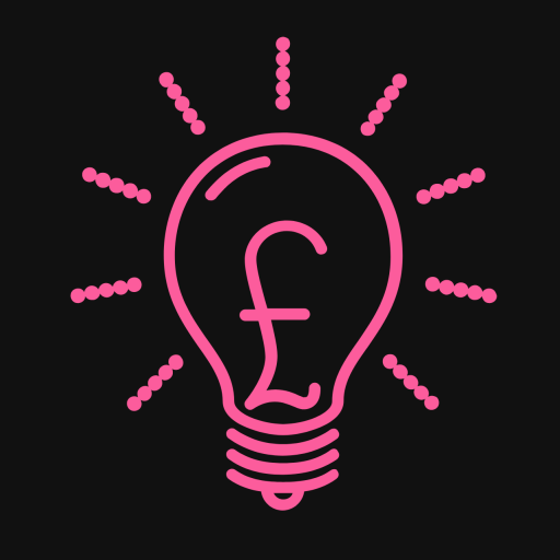 The Twenty Percent Logo - my year of blogging. Black background with pink lightbulb and a pound sign in the middle