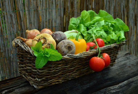 A basket of veg, used to illustrate another sustainability tip.