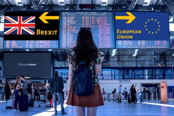 Re-join the EU - woman at station with one arrow pointing to Brexit and the other towards the EU