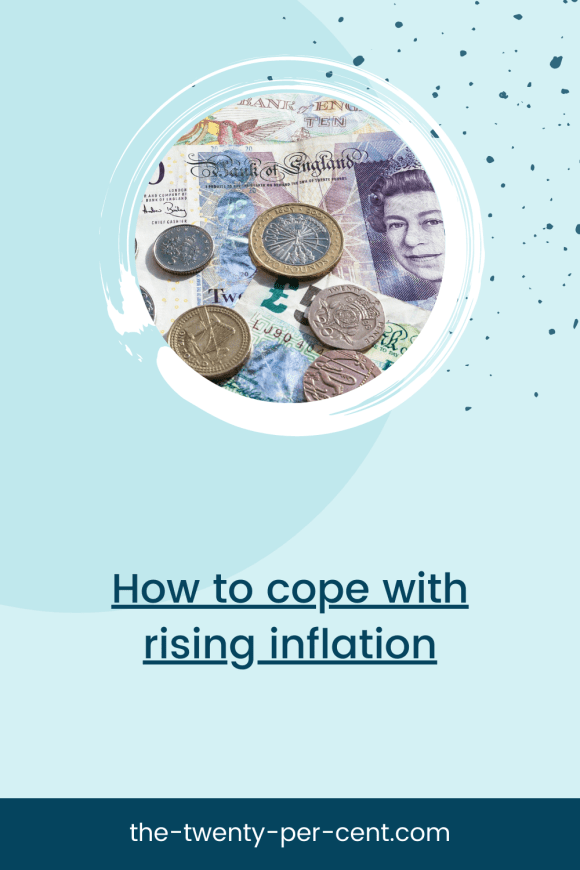 Pinterest Pin - picture of pounds and notes, above text 'how to cope with rising inflation'