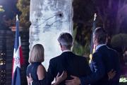 <h5>Danke, Deutsche Botschaft</h5><p>Das Mauerstück im Zentrum der Feier anlässlich des Mauerfalljubiläums am 09.11.2019 in Santo Domingo. © Deutsche Botschaft</p>