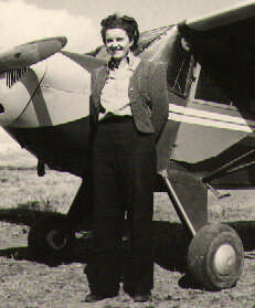 Lois Brooks with her Taylorcraft