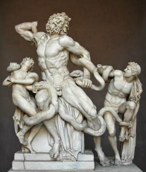 Statue of Laocoön and His Sons created by three great Greek sculptors: Agesander, Polydorus and Athenodoros.   This life-size statue is made of marble and depicts a Trojan priest named Lacoon, together with his sons Thymbraeus and Antiphantes, being throttled by sea serpents.