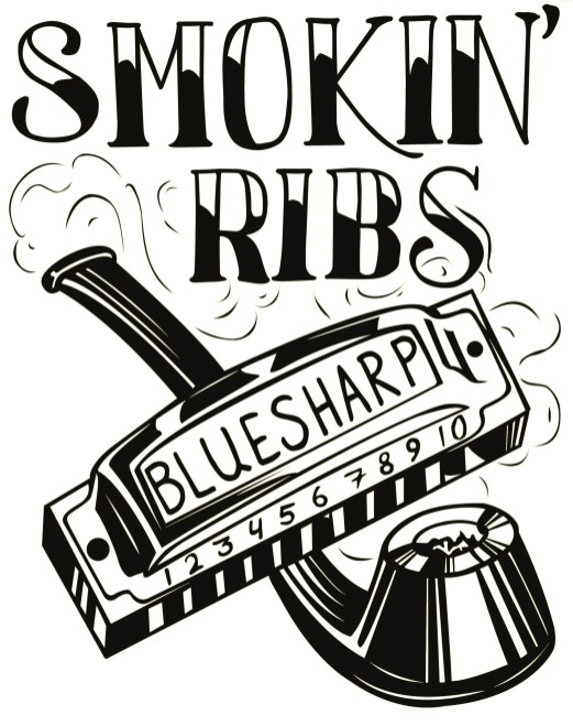 SMOKIN RIBS LOGO WHITE