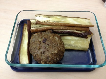 Eggplant and burger