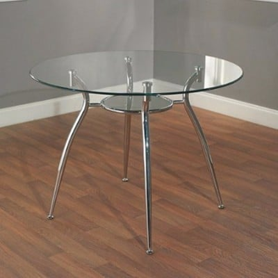 #7 Simple Living Modern Tempered Glass and Chrome Small Round Dining Room