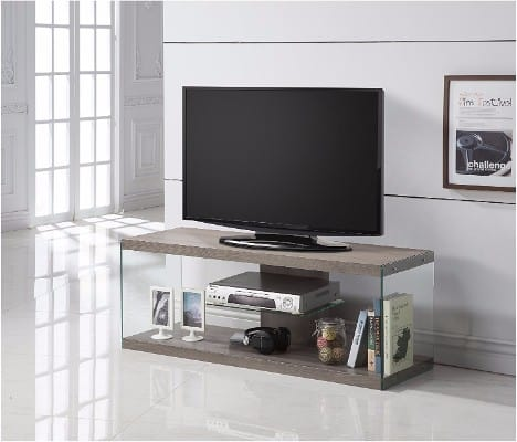 Dark Taupe Reclaimed-Look Glass TV Console Stand with Shelf