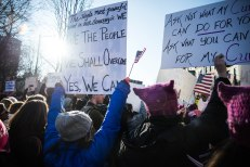 Protesters braved the cold to send the message they believe in. (Photo by Michael Bueno)