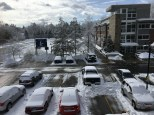 Cars parked in the Forest Hall parking lot remained covered in snow on Monday morning.