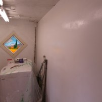 Mudroom in the middle of its first-phase makeover.
