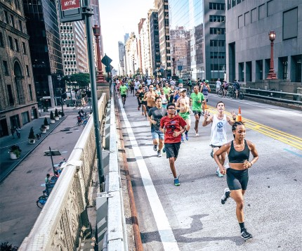 The Flash, leading the Nike NYC Run Club's 10 mile run in August 2016.