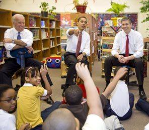 Vice-President Joseph Biden, President Obama and Secretary of Education, Arne Duncan