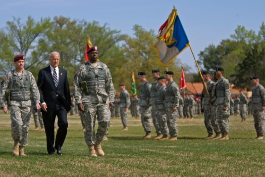 Vice President Joe Biden inspects the 18th Airborne Corps with CSM Allen and Lt. General Austin at the units' welcome home ceremonies at Fort Bragg in North Carolina, Wednesday, April 8, 2009